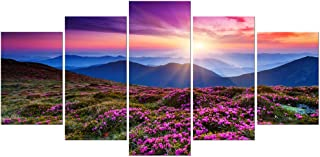Wieco Art Mountains in Sunrise Extra Large 5 Panels Modern Gallery Wrapped Giclee Canvas Prints Artwork Purple Landscape Pictures Paintings on Canvas Wall Art for Living Room Home Decorations XL