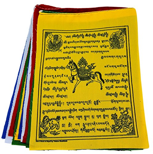 Tibetan Prayer Flags Medicine Buddha Buddha of Compassion Green Tara Mix Flags Set of 10 Five Tibetan Traditional Colors which are Yellow, Green, red, White and Blue