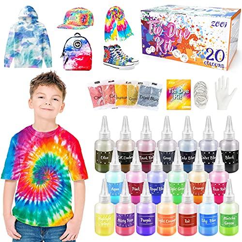 ZOOI Batikfarben Set - 20 Färben DIY Textilfarbe | Tie Dye Kit | Batik Set Waschmaschinenfest Von Stoff Und Kleidung, Färbemittel Textilien für Kindergeburtstag Bastelset Kinder & Erwachsene…