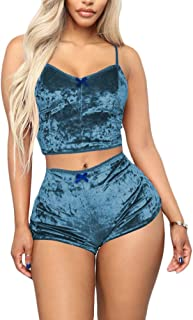 Womens Sexy Velvet 2 Pieces Romper Outfit - Sleeveless Crop Top Camisole + Shorts Bottom Sleepwear Pajama Set Clubwear
