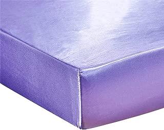 edredon cama 150,Slowdream 1 pieza Sábana ajustable de seda satinada Funda de colchón de lujo Funda sólida verde Banda elástica de euro Sábana de goma Decoración para el hogar-Púrpura_US-Queen153x203