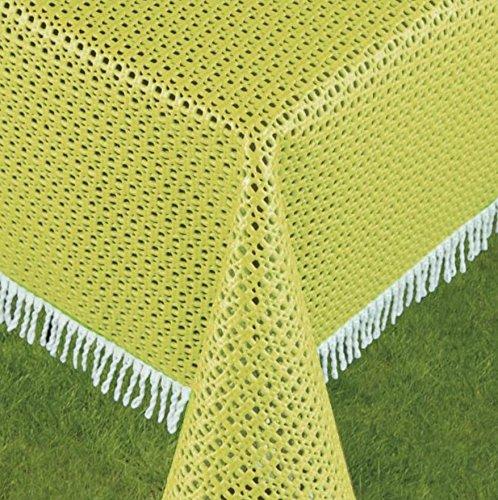 Schwar Textilien Gartentischdecke Tischdecke Weichschaummaterial rutschfest wetterfest 4 Farben Rustikal (160cm rund, Gelb/Grün)
