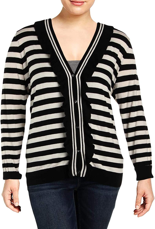 Lauren Ralph Lauren Womens Plus Striped Ruffled Cardigan Sweater