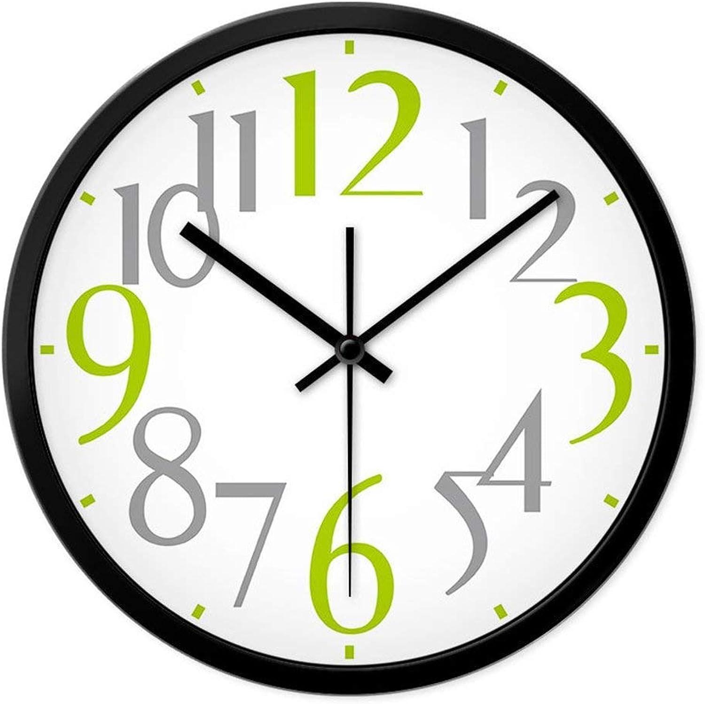 XQY Reloj de Parojo Bell-Metal Accurate - Moderno Mesa Colgante Creativa Relojes Mute y Relojes Sala de Estar Dormitorio Reloj de Cuarzo Reloj Grande de Moda de Dibujos Animados (Borde Negro, Borde