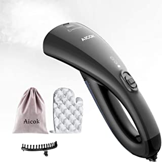 AICOK Steamer for Clothes,15s Fast Heat-up Travel Garment Steamer, Dual Steam Setting Travel Iron, Handheld Steamer with Travel Pouch, Heat Resistant Mitt and Brush
