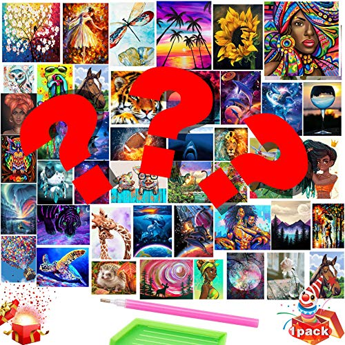 GIEAAO Blind Box & Random Surprise 5D Dimaond Painting, Mystery DIY Paint with Diamonds Arts Paint by Numbers Kits Full Drill Round Rhinestone Cross Stitch Mosaic Art Craft Canvas for Home Wall Decor