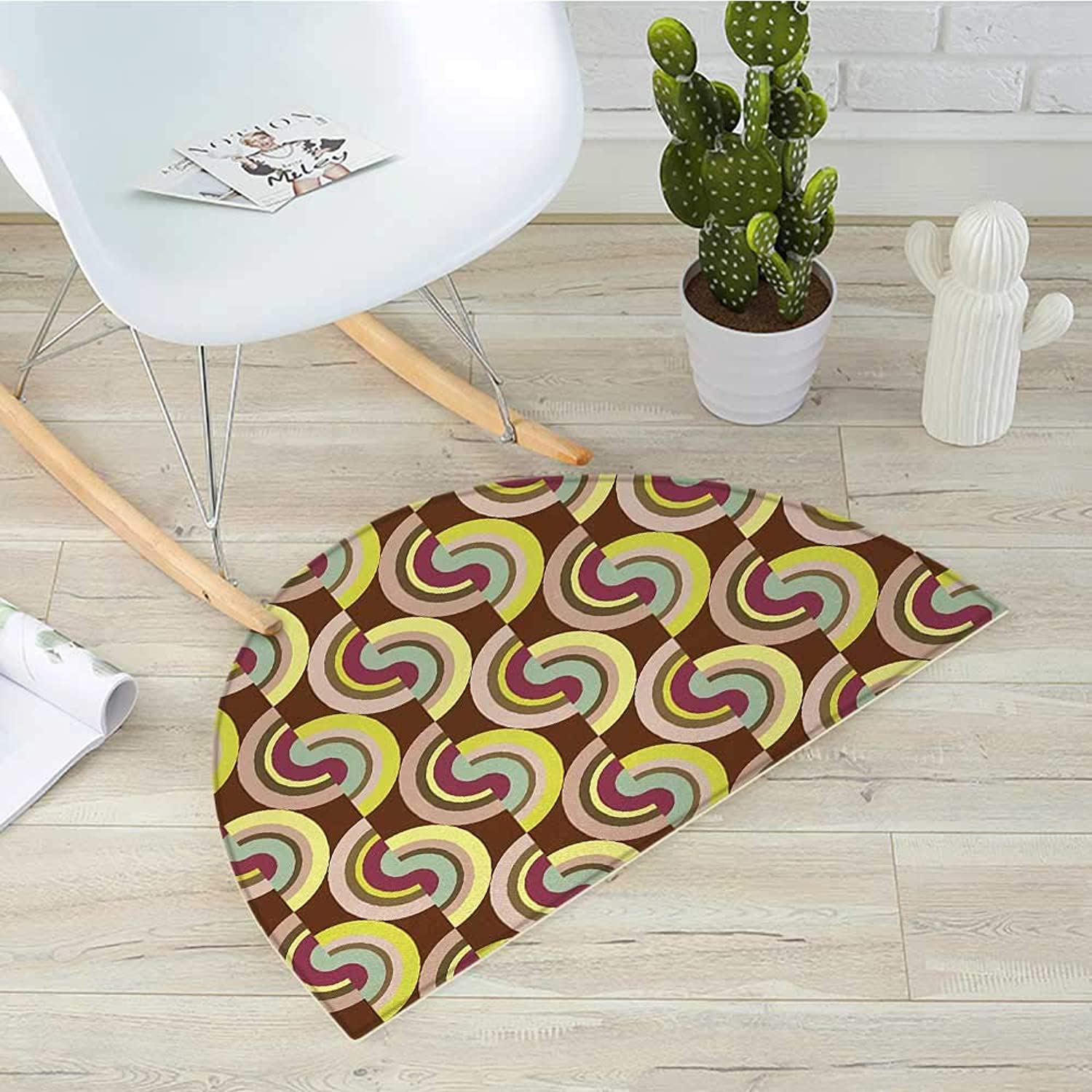 Retro Semicircle Doormat Vintage Hippie Modern Design with Geometric colorful Rounds Circles Image Halfmoon doormats H 39.3  xD 59  purplec Purple and Cocoa