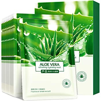 Face Mask Aloe Facial Mask Sheet Hydrating Moisturizing Revitalizing Facial Mask Sheet for Dry, Oily, Sensitive and Tired Skin 25ml/0.8oz, Pack of 10