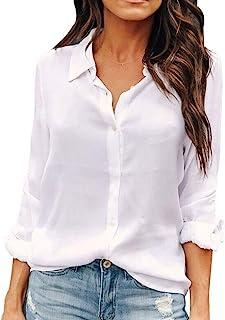 OMSJ Women Button Down Shirts Long Sleeve Chiffon Office Casual Blouses