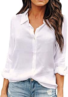 Women Button Down Shirts Long Sleeve Chiffon Office Casual Blouses
