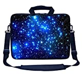Meffort Inc 15 15.6 inch Neoprene Laptop Bag Sleeve with Extra Side Pocket, Soft Carrying Handle & Removable Shoulder Strap for 14' to 15.6' Size Notebook Computer (Galaxy Star)