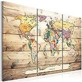 murando - Mapamundi con Tablero para Clavar chinchetas 135x90 cm - Cuadro en Lienzo - 3 Partes - Panel de Fibra - Mapa del Mundo Continente - Viajes geografia Vintage k-C-0077-v-e