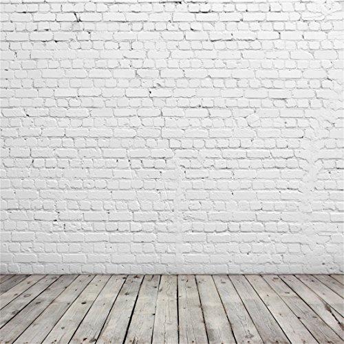 YongFoto 3x3m Vinilo Fondo de Fotografia Pared de Ladrillo Blanco Pintado y Interior de la Habitación de Madera Gris Telón de Fondo Adultos Niños Personal Portrait Studio Props