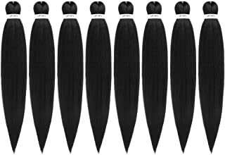 Pre-Stretched Braiding Hair Extensions Black – 24 inch 8 Packs Synthetic Crochet..