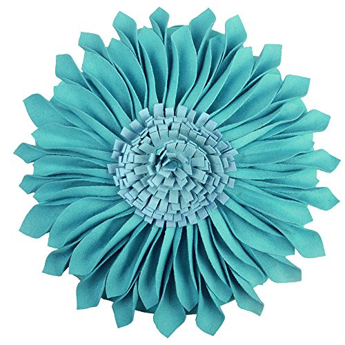 JWH Handmade 3D Flowers Accent Pillow Round Sunflower Cushion Decorative Pillowcase with Pillow Insert Home Sofa Bed Living Room Decor Gift 12 Inch / 30 cm Wool Cotton Suede Teal Blue