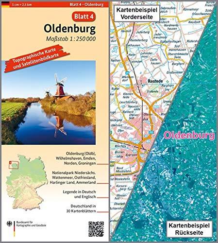 Oldenburg: Umgebungskarte mit Satellitenbild 1:250.000 (TK250 / Topographische und Satellitenbildkarte)