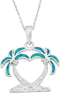 Sterling Silver, Gold Plated/Rose Gold Plated Created Blue or White Opal Double Palm Tree 18