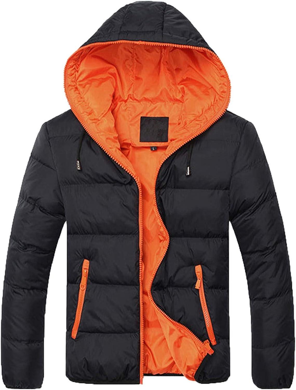 Beshion Mens Winter Coat Lightweight Hoodie Full Zip Cotton-Padded Jacket Coat Soild Color Workout Warm Coat