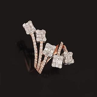 2.17Ct Diamond Pave Designer Baguette Cocktail Ring 18K Rose Gold Handmade Easter Gift Jewelry