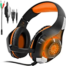 GM-1 PS4 Pro Headphones Compatible PC Tablet Cellphone,AFUNTA Stereo LED Backlit Gaming Headset with Mic & Retail Box - Orange