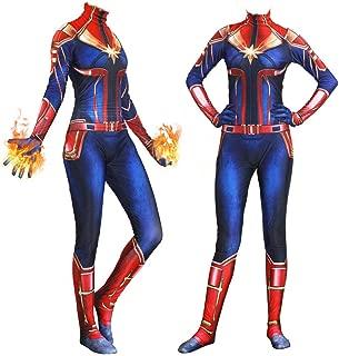 Captain Superhero Suit Halloween Cosplay Costume Carol Danvers Spandex Bodysuit Zentai