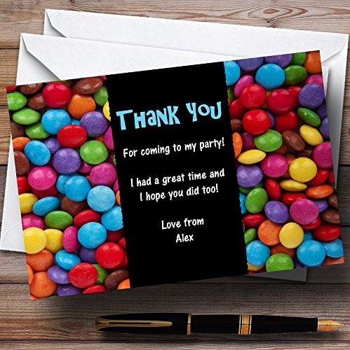 10 x Uitnodigingen Smarties Snoepjes Blauw Gepersonaliseerd Kinderfeest Dank Kaarten