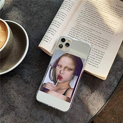 Carcasa para iPhone 7/8 con impresión de Mona Lisa Lollipop Lollipop Lollipop Lollipop chula bonita funda para iPhone con diseño de Mona Lisa resistente a los arañazos y a los golpes