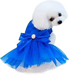 Wakeu Small Dog Girl Dress Pet Puppy Lace Tutu Stripe Vest Shirt Clothes