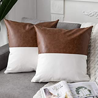 DEZENE 2 Pack Faux Leather with Cotton Decorative Throw Pillow Covers for Couch Sofa Car, Accent Square Pillow-Cases for Cushion Covers, 18 x 18 Inch