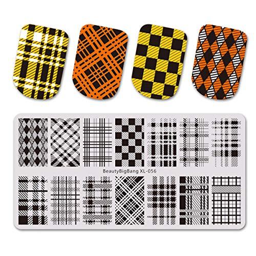 BEAUTYBIGBANG Nagel Stamping Schablone Nail Art Plate Streifen Plaid Karo Kariert Muster Maniküre L-056