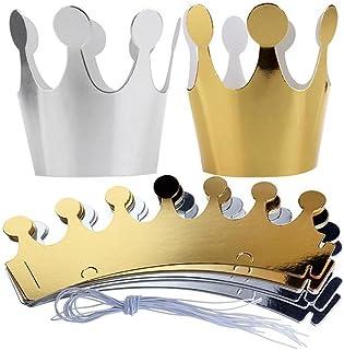 Doublehero 10 Stücke Kinder Erwachsene Geburtstag Hüte Cap Crown Prince Prinzessin Party Dekoration Papier