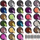 Duufin 28 Cajas Efecto Espejo para Uñas Metalicas Cromo en Polvo para Uñas con 28 Piezas Palos de Sombra de Ojos, 1g/Cajas