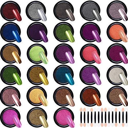 Duufin 28 Cajas Cromo en Polvo para Uñas Efecto Espejo Uñas Polvo con 28 Piezas Palos de Sombra de Ojos, 1g/Cajas