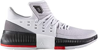 Men's Adidas D Lillard 3 Basketball Shoes, White/Black/Scarlet, US 8.5 M