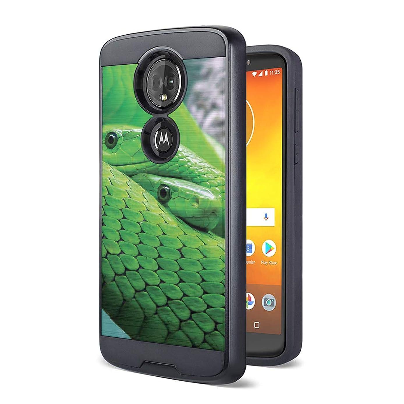 Moriko Case Compatible with Moto G7 Power, Moto G7 Supra [Drop Protection Fusion Dual Layer Slick Armor Case Black] for Motorola Moto G7 Power - (Mamba Snake)