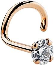 FreshTrends Genuine Diamond Nose Stud 14K Rose Gold Twist Screw Nose Ring, 20 Gauge I1 Clarity