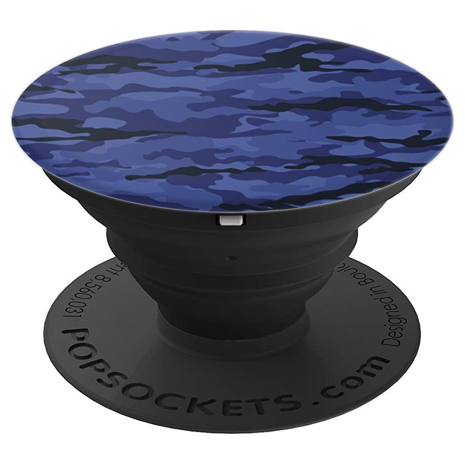 Blue Camo Camouflage dark blue for boys and men - PopSockets Grip and Stand for Phones and Tablets