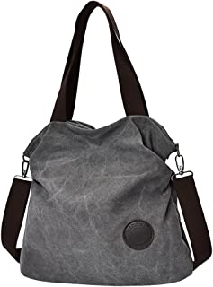 Prettyia Fashion Plain Canvas Shoulder Bag Large Capacity Women Shopping Handbag Tote