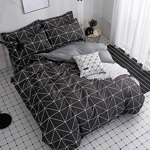 BH-JJSMGS 4-teilige gestreifte Check-Bettwäsche aus Aloe-Baumwolle, Bettbezug und Kissenbezug, schwarzer Check 180 * 220 cm