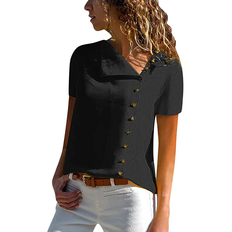 TUSANG Womens Tees Casual Lapel Neck T-Shirt Ladies Short Sleeve Buckle Blouse Tops Slim Fit Sexy Tunic