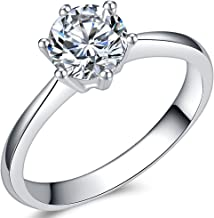 Jude Jewelers 1.0 Carat Classical Stainless Steel Solitaire Engagement Ring
