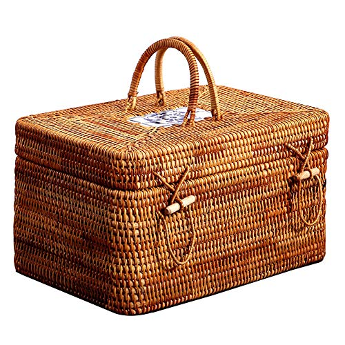 Rectangular Natural Rattan Storage Basket, Hand Made Woven Makeup Organizer Container with Attached Lid and Handle, Multipurpose Chests Shelf