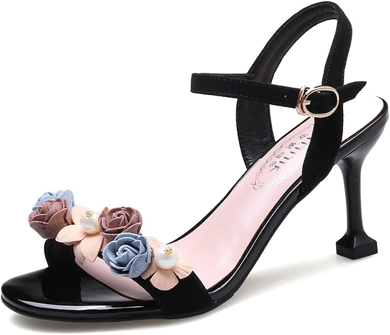 Summer Women's Sandals Elegant Leather Ankle Straps High Heel shoes ( color   Black , Size   36 )