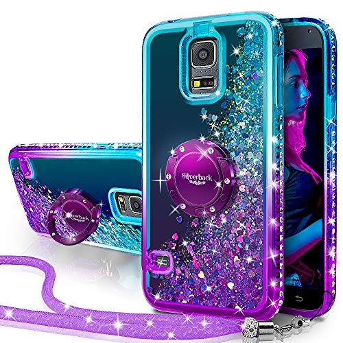 Miss Arts Cover Galaxy S5,[Silverback] Custodia Glitter di in TPU con Supporto Rotazione a 360 Gradi, Pendenza Colore Diamond Liquido Cover Case per Samsung Galaxy S5 -Porpora