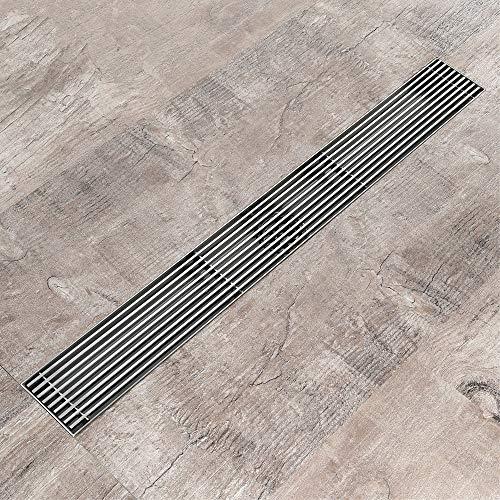Boden-Duschrinne Bodenrinne, rechteckige Edelstahlrinne, Duschrinne für Bad und Garten, herausnehmbare Anti-Verstopfungs-Konstruktion (600 x 70 mm)