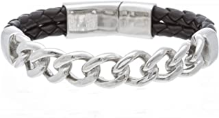 Steve Madden 8 Inch Black Leather and Stainless Steel Curb Chain Bracelet for Men, One Size (SMBS472568-LBK)
