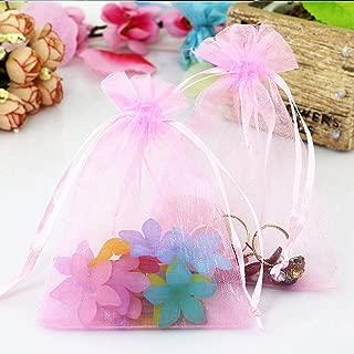 VandaSugar 100PCS 4x6 (10x15cm) Pink Drawstring Organza Jewelry Favor Pouches Wedding Party Festival Gift Bags Candy Bags