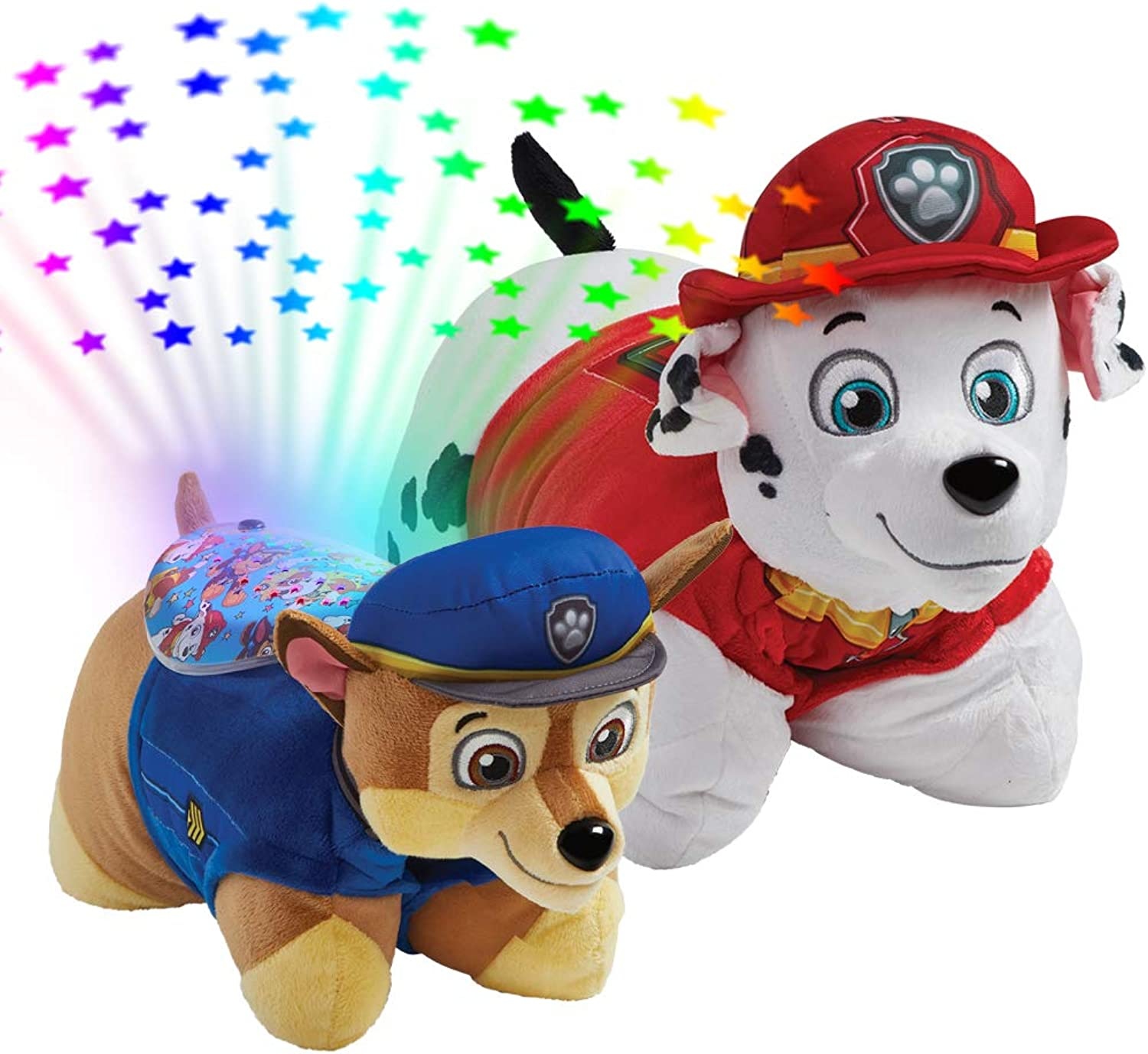 Pillow Pets Nickelodeon Paw Patrol, 16  Marshall and Chase Sleeptime Lites, Stuffed Animal Plush Toy and Night Light