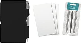 Wellspring Flip Note Notepad Set: Black Flip Note, 3 Flip Note Refill Pads and a 3 Mini Pen Refill