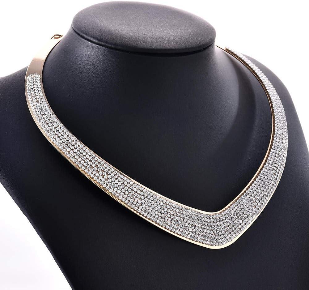 Necklace Pendant Luxurious Full Rhinestone Heart Design Lady Charming Collar Choker Necklace Wedding Birthday Jewelry Gifts